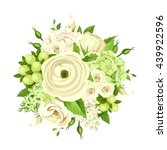 Vector Bouquet With White And...