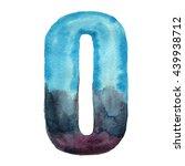 watercolor decorative number 0. ... | Shutterstock . vector #439938712
