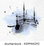 mosque on watercolor paper and... | Shutterstock .eps vector #439944292