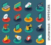 media isometric icons on round... | Shutterstock .eps vector #439954186