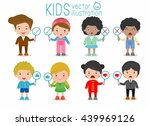 kids have a plate of sign to... | Shutterstock .eps vector #439969126