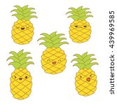 set of cute pineapples with... | Shutterstock .eps vector #439969585