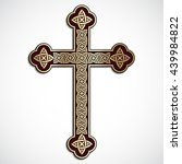 golden ornamental cross with... | Shutterstock .eps vector #439984822