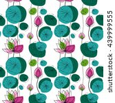 Lotus Flowers And Pads Vector...