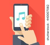 music app on smartphone screen. ...