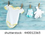 baby clothes and white bear toy ... | Shutterstock . vector #440012365