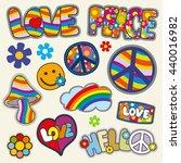vintage hippie patches vector... | Shutterstock .eps vector #440016982