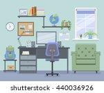 workspace for freelancer in... | Shutterstock .eps vector #440036926