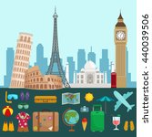 traveling bag suitcase trip or... | Shutterstock .eps vector #440039506