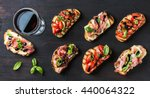 brushetta snacks for wine.... | Shutterstock . vector #440064322