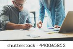 coworkers team brainstorming... | Shutterstock . vector #440065852