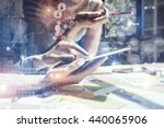 photo girl touching screen... | Shutterstock . vector #440065906