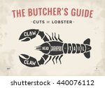 cut of meat set. poster butcher ... | Shutterstock .eps vector #440076112