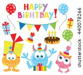 birthday monster vector... | Shutterstock .eps vector #440078266