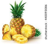pineapples with slices. vector... | Shutterstock .eps vector #440093086