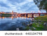 Beautiful evening panorama of Gorzow Wielkopolski with blue sky, Poland