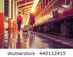 traveler girls walking and... | Shutterstock . vector #440112415