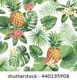 hawaiian seamless pattern with... | Shutterstock .eps vector #440135908