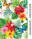tropical seamless pattern with... | Shutterstock .eps vector #440136148