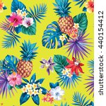 seamless tropical pattern with... | Shutterstock .eps vector #440154412