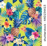 seamless tropical pattern with... | Shutterstock .eps vector #440154415