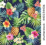 seamless tropical pattern with... | Shutterstock .eps vector #440154436