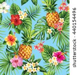 seamless tropical pattern with... | Shutterstock .eps vector #440154496