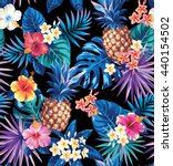 seamless tropical pattern with... | Shutterstock .eps vector #440154502