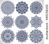 flower mandalas. vintage... | Shutterstock . vector #440158102