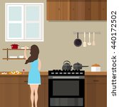 mom woman cooking in kitchen... | Shutterstock .eps vector #440172502