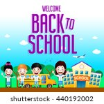 welcome back to school text... | Shutterstock .eps vector #440192002