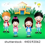 school building with happy... | Shutterstock .eps vector #440192062
