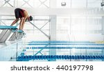 professional woman swimmer in a ... | Shutterstock . vector #440197798