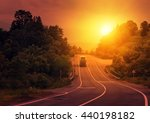 road and blurred truck on the... | Shutterstock . vector #440198182