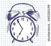 alarm clock. doodle sketch on...   Shutterstock .eps vector #440200198
