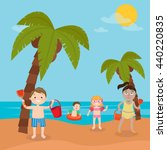 children sea vacation. girls... | Shutterstock .eps vector #440220835