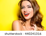 cheerful beautiful young woman... | Shutterstock . vector #440241316