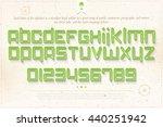 set of green outline alphabet... | Shutterstock .eps vector #440251942