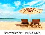 beautiful hawaii beach. chairs... | Shutterstock . vector #440254396