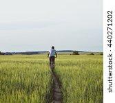biker on pathway. man on...   Shutterstock . vector #440271202