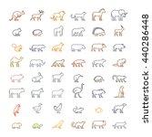 Stock vector vector color line set silhouettes of animals linear icon ferret meerkat chicken hedgehog cat 440286448