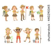 kids scouts camping set of cute ... | Shutterstock .eps vector #440290345