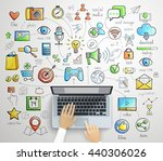laptop infographics  handdrawn... | Shutterstock .eps vector #440306026