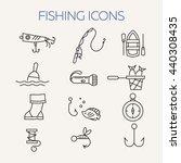 fishing icons. summer activity... | Shutterstock .eps vector #440308435