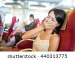 woman feeling sick on boat | Shutterstock . vector #440313775