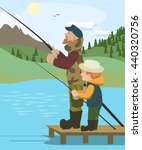 man and boy fishing at mountain ... | Shutterstock .eps vector #440320756