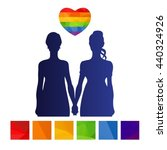 gay women couple isolated on... | Shutterstock .eps vector #440324926