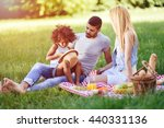 cheerful family devoting time... | Shutterstock . vector #440331136