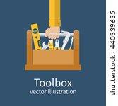 repairman holding toolbox.... | Shutterstock .eps vector #440339635