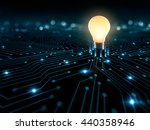 glowing light bulb on the... | Shutterstock . vector #440358946